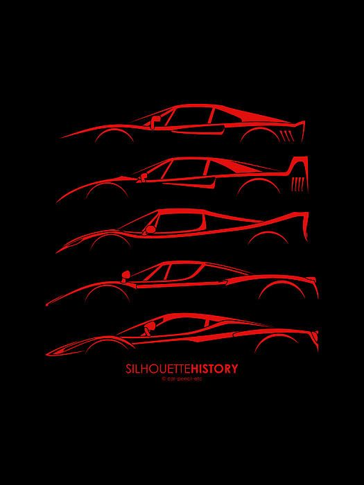 Ferrari Supercars Silhouettehistory Canvas Print Canvas Art By