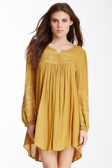 Embroidered Long Sleeve Woven Tunic Dress by Monoreno on ...