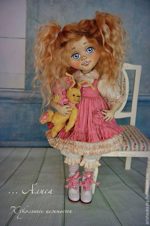 Купить Маленькая Алиса ( в лиловом ) . Кукла авторская . - розовый, лиловый: