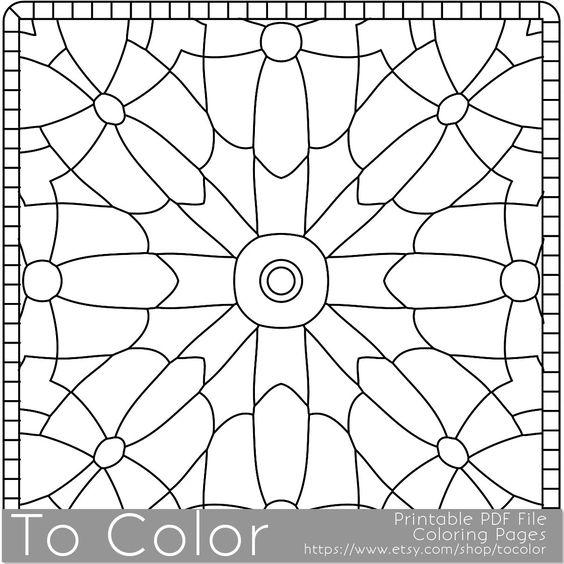Square Mandala Pattern Coloring