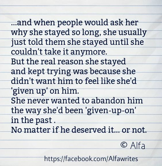 She never wanted to abandon him..