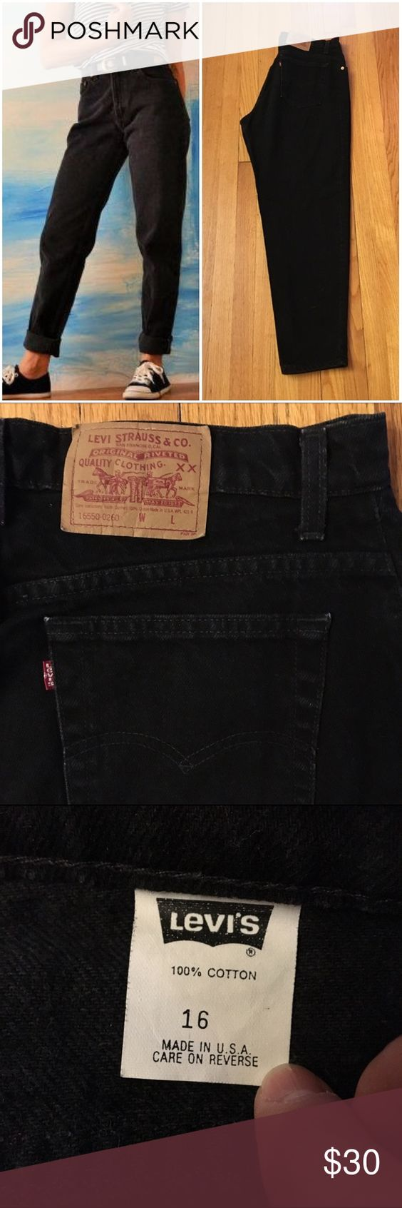 """Black Vintage Levi's Jeans Black high-waisted vintage Levi's """"mom jeans"""" Size/Fit Marked: 16 Size BEST FIT: 12/32  Apx. measurements when laying flat: 16.5"""" across waistband 13"""" front rise  30"""" inseam 22"""" across bottom of back pockets Condition: excellent vintage Check out my closet for other vintage denim in a VARIETY of sizes. Left cover photo is style inspo only, rest are mine. Price is firm so bundle for a discount!! Levi's Jeans"""