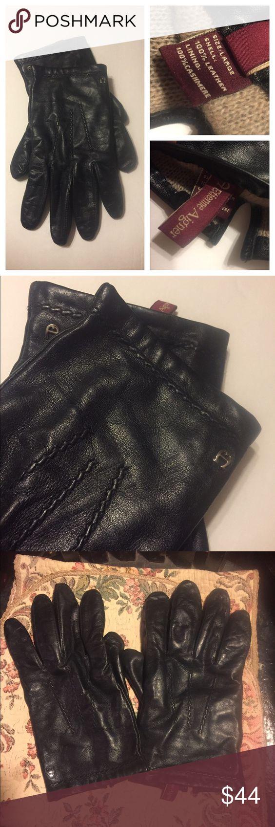 Etienne aigner black leather gloves - Etienne Aigner Black Leather Gloves 10