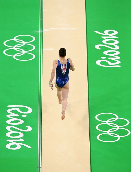 #RIO2016 Ruby Harrold of Great Britain performs on the Vault during a Gymnastics training session at Rio Olympic Arena on August 4 2016 in Rio de Janeiro...