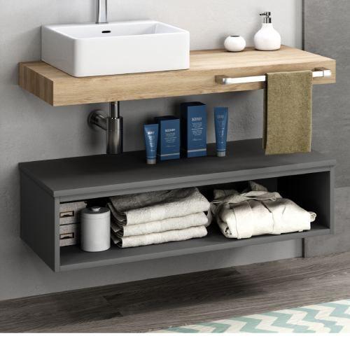Mueble Bajo Sifón Flow Gris Consta De Un Estante Con Forma De Hueco Ideal Para Toallas Papel Hig Muebles De Baño Muebles De Lavabo Muebles Auxiliares Baño