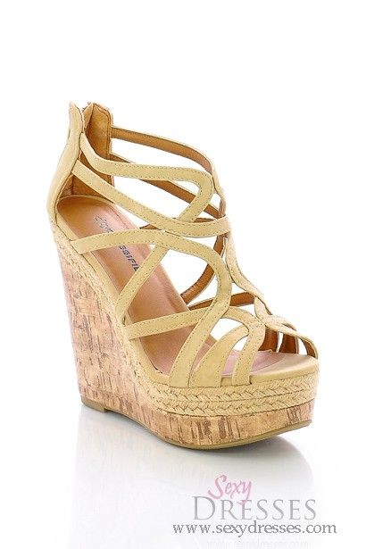 Stylish Nude Strappy Open Toe Wedge Heel Sandal | Toe, Sandals and ...