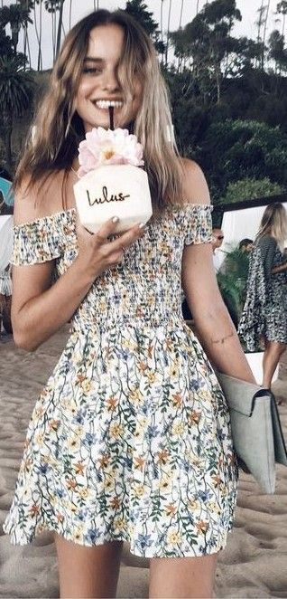 #summer #beach #outfits | Little Floral Dress: