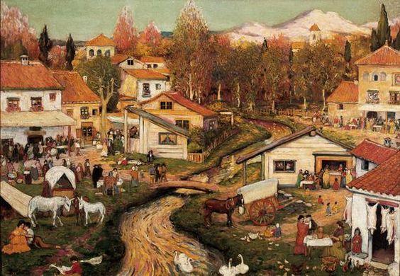 Ramon Pichot Girones (1871-1925) - Landscape with figures -
