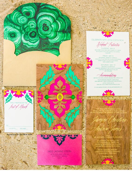 Luxury Wedding Invitations by Ceci New York -  Malachite-Inspired Tropical wedding invitation suite