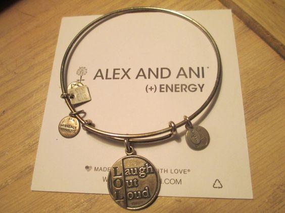 Alex & Ani Laugh Out Loud LOL Charm Bangle Bracelet Rare russian Silver retired #alexani