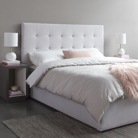 June King Bed Horizon Grey Style In Form Bed Headboard Design Fabric Headboard Bedroom Upholstered Bed Frame