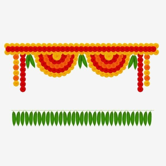 Marigold Toran Decorative R Garland Mango Leaves Leaves Garland Marigold Png And Vector With Transparent Background For Free Download Watercolor Flower Wreath Flower Decorations Flower Frame