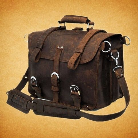 """I found 'Rugged Leather Briefcase /Backpack /Messenger /Laptop /Men's Bag /Bag Large 16"""" in Dark Brown' on Wish, check it out!"""