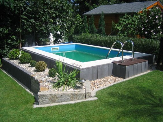 In-ground swimming pool \/ wall \/ steel \/ for outdoor use - ROUND - poolumrandungen ideen