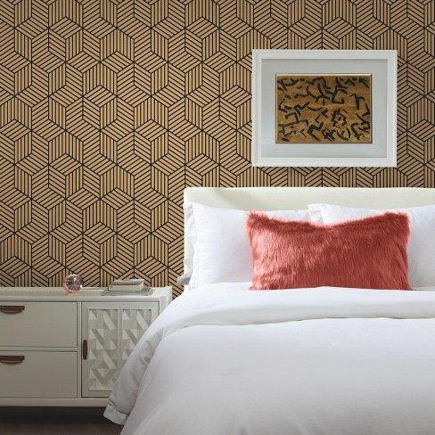 Roommates Striped Hexagon Peel Stick Wallpaper Gold Black Peel And Stick Wallpaper Home Peelable Wallpaper
