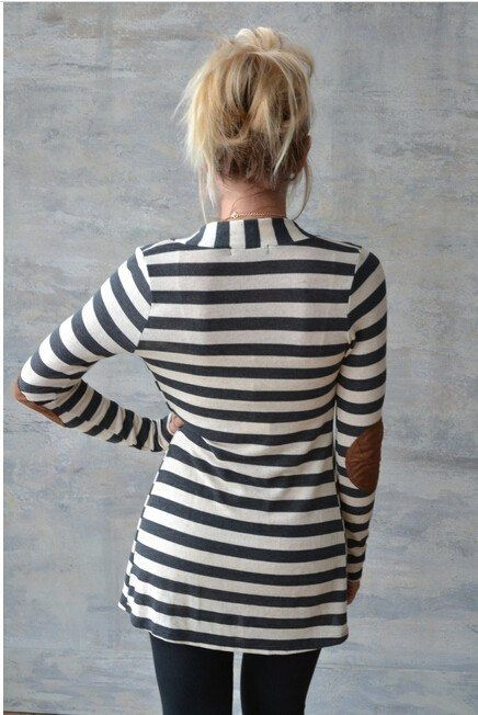 """Beautiful basic striped cardigan with super cute elbow patches that added a touch of fall! Super comfy and soft and looks great. Length from shoulder to hem: S-31.5"""", M-32"""", L and XL-32.5"""" Bust: S-34"""", M-36"""", L-38"""" 100% Cotton Hand wash cold, hang to dry."""