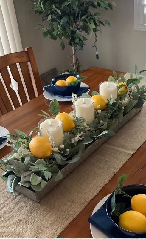 Green Eucalyptus Galvanized Centerpiece Dining Room Table Centerpieces Lemon Kitchen Decor Summer Home Decor