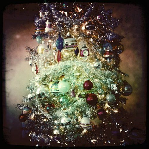 This is a picture I took of my Christmas tree last year. I'm in love with it. haha #christmas #photography #retro #vintage ornaments #tinsel tree