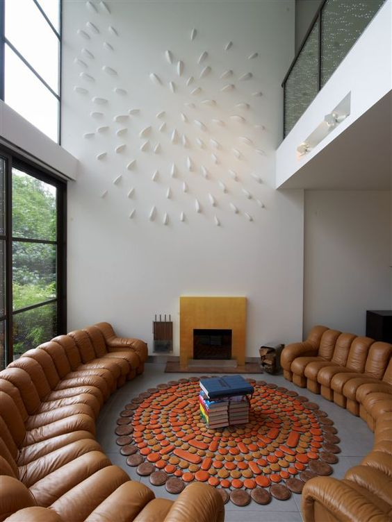 Sofa, seating, circles // Gramercy Park townhouse, by Fractal Construction
