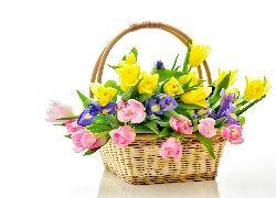 Tulipany, Irysy, Kosz, Bukiet Kwiatów