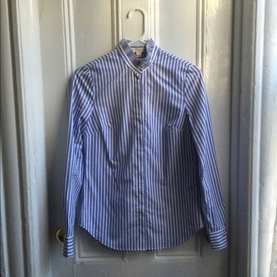 J. Crew Striped Ruffle-Collar Shirt Nice crisp cotton dress shirt, vertical white and blue stripe, new with tags!! J. Crew Tops Button Down Shirts