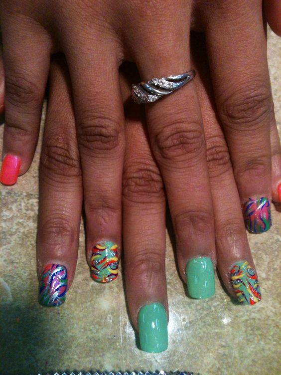 Jolly rancher colors with color nail designs   My Crazy Nail Art ...