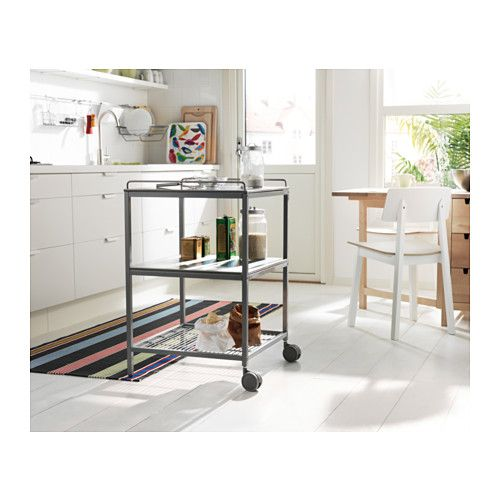 UDDEN Kitchen trolley, silver-colour, stainless steel Kitchen