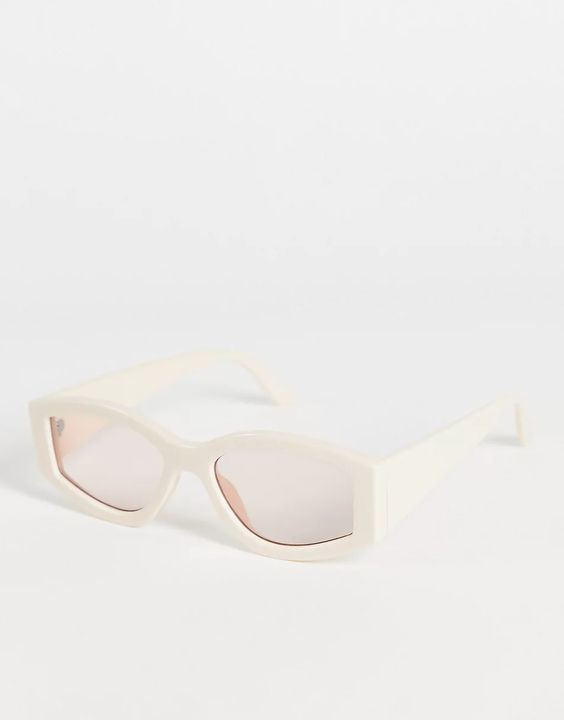 ASOS DESIGN chunky oval sunglasses in off white
