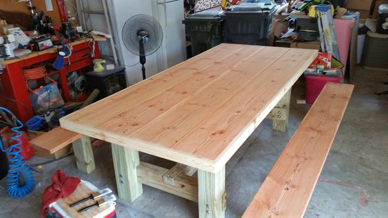 DIY farm table before stain