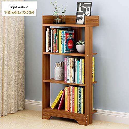 Shelf Solid Wood Bookshelf Bookcase Landing Bedroom Living Room Space Saving Color Light Walnut Size 1004022cm