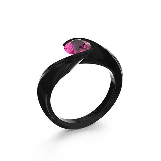 Decorum 14K Black Gold 1.0 Ct Pink Sapphire Nature by DecorumRings