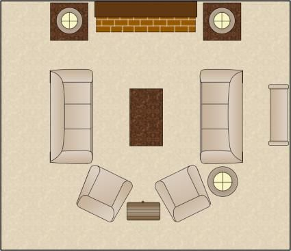 Symmetrical living room arrangement furniture arranging for Room plans for furniture placement