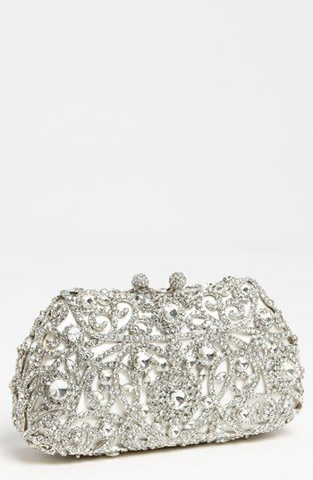 $298, Silver Embroidered Clutch: Tasha Princess Clutch Silver. Sold by Nordstrom. Click for more info: http://lookastic.com/women/shop_items/96848/redirect