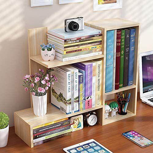 Lnddp Desktop Bookshelf Organizer Freestanding Wooden Countertop Bookcase Display Rack Storage Shelf For Off Small Bookshelf Bookshelves Diy Simple Storage