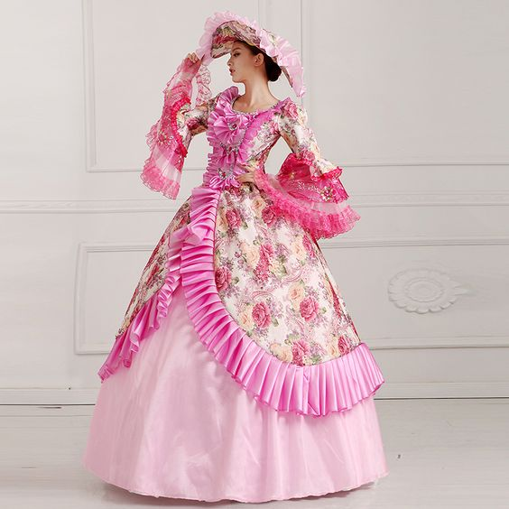 pink flowers ruffled floral printing ball gown with hat medieval dress…