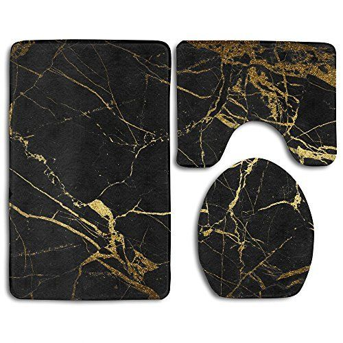 Black Gold Marble Bath Mat Bathroom Carpet Rug Washable Non Slip 3 Piece Bathroom Mat Set With Images