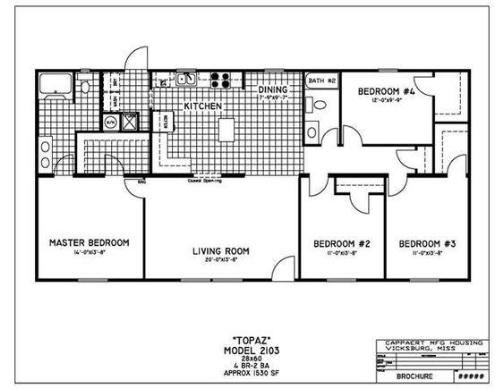 4 Bedroom Mobile Home Floor Plans House Plans