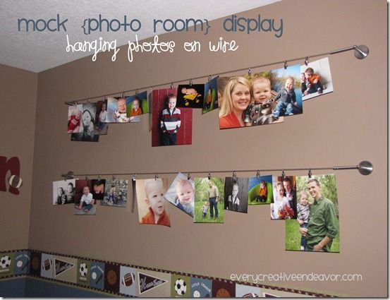 Hanging photos on wire! What a great idea and so easy to change them out