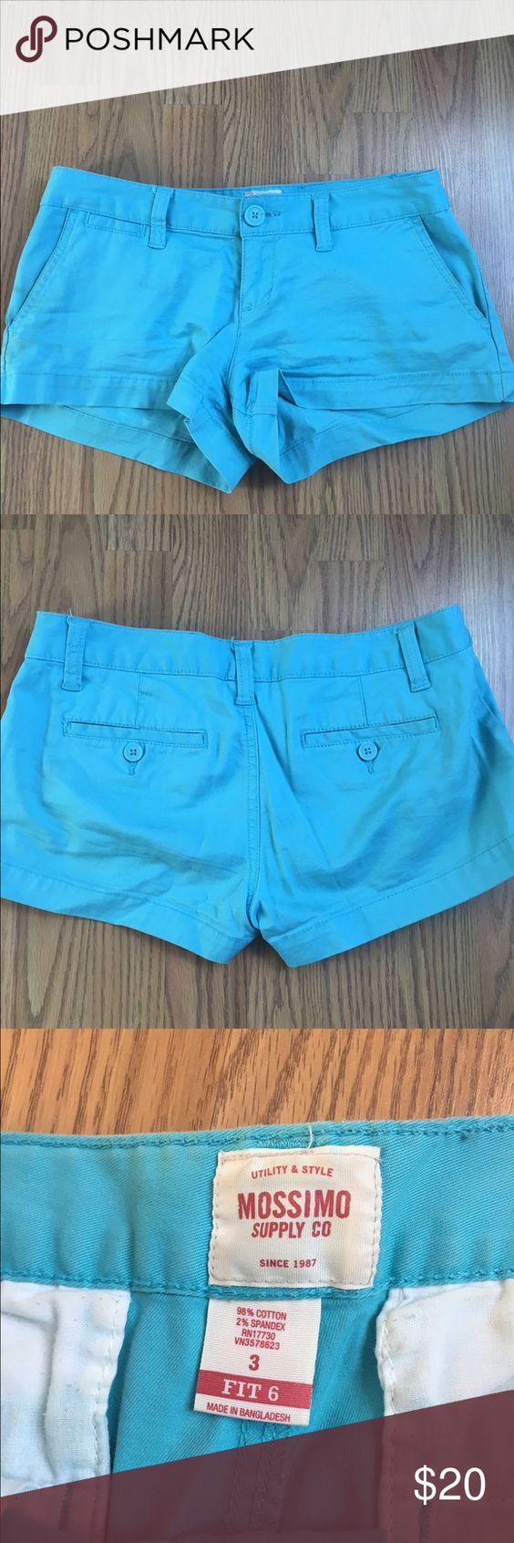 Turquoise shorts Turquoise shorts. Great color for spring and/or summer. Worn only a few times and in great condition! Size 3 Mossimo Supply Co Shorts Jean Shorts