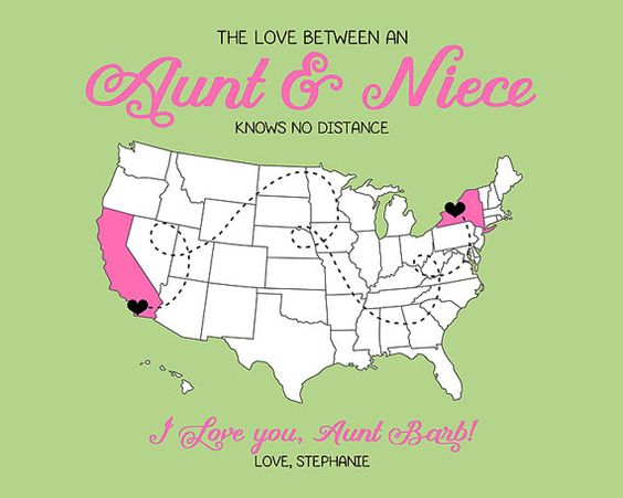Aunt Gift, Custom Map Gift for Niece, Aunt, Auntie, Tia, Christmas ...