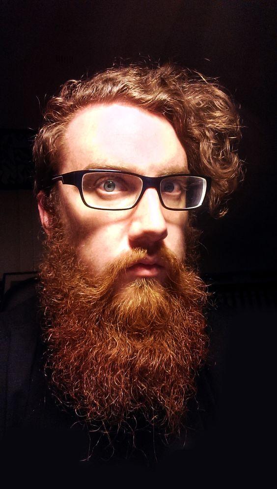 huge full thick long red beard beards bearded man redhead ginger glasses mustache curls blue eyes striking
