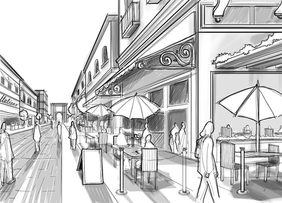 Perspective Guides: How to Draw Architectural Street Scenes — A handy step-by-step tutorial with a few key tricks for making one-point perspective architectural details look just right.