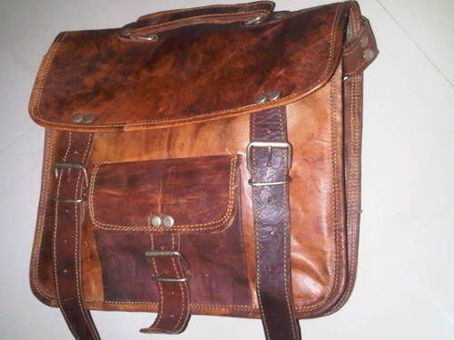 Vintage Handmade Genuine leather School, book, small notepad shoulder bag gift