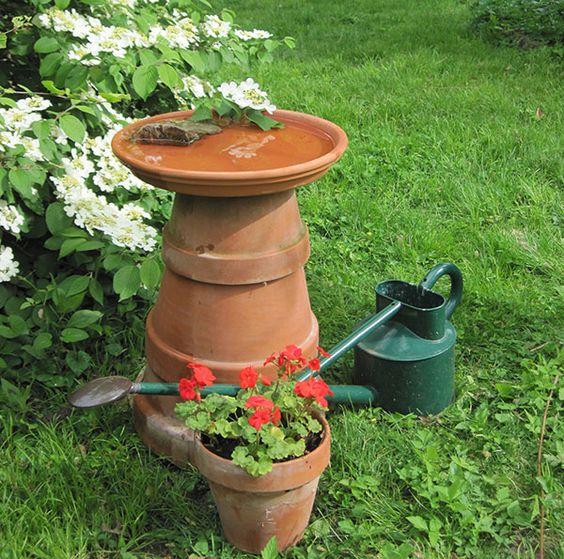 omg, love it!! this is so my outside style   lowe's creative ideas: Creative Birdbath, Birdbath Idea, Diy Birdbath, Gardening Ideas, Creative Idea, Clay Pot, Cotta Can