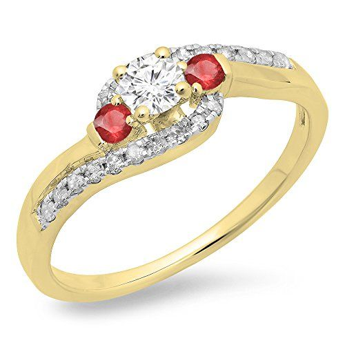 14K Yellow Gold Round Ruby & White Diamond Ladies Bridal Bypass Swirl 3 Stone Engagement Ring (Size 10). Other ring sizes may be shipped sooner. Most rings can be resized. Items is smaller than what appears in photo. Photo enlarged to show detail. Satisfaction Guaranteed. Return or exchange any order within 30 days. Color may varies from photo. All our diamonds are conflict free.