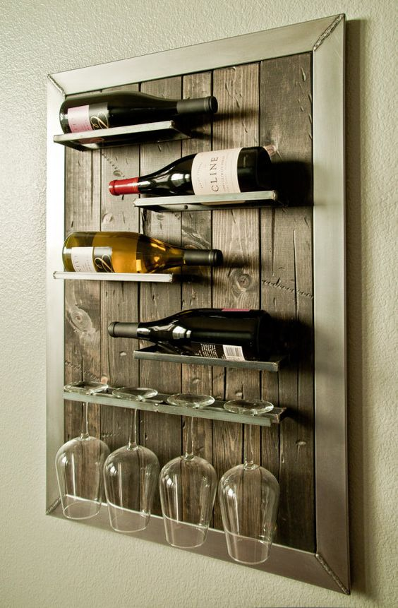 Wall Mounted Wine Rack And Glass Holder By