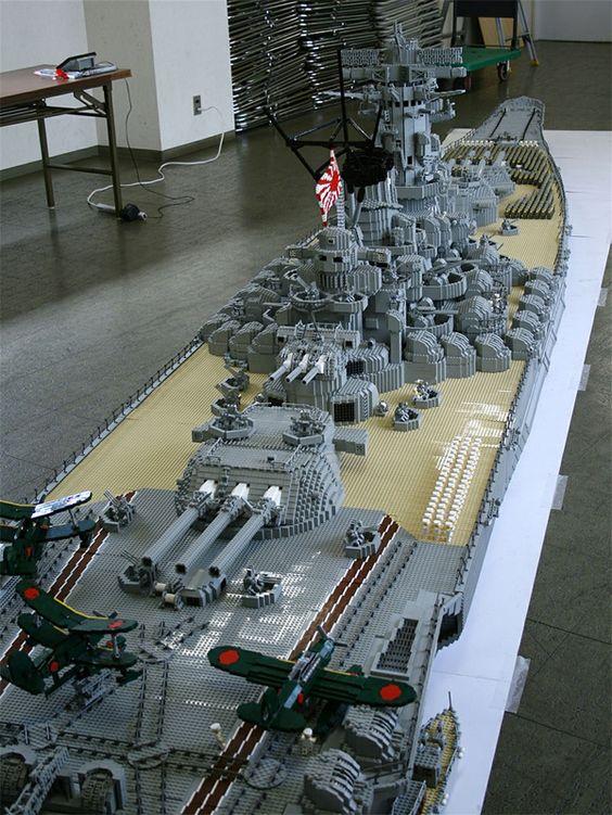 A BEHEMOTH BATTLESHIP MADE OF LEGOS: Battleship Yamato, Lego Art, Lego Creation, Lego Battleship, Lego Stuff, Toys Lego
