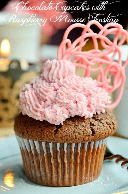 Chocolate Cupcakes with Raspberry Mousse Frosting