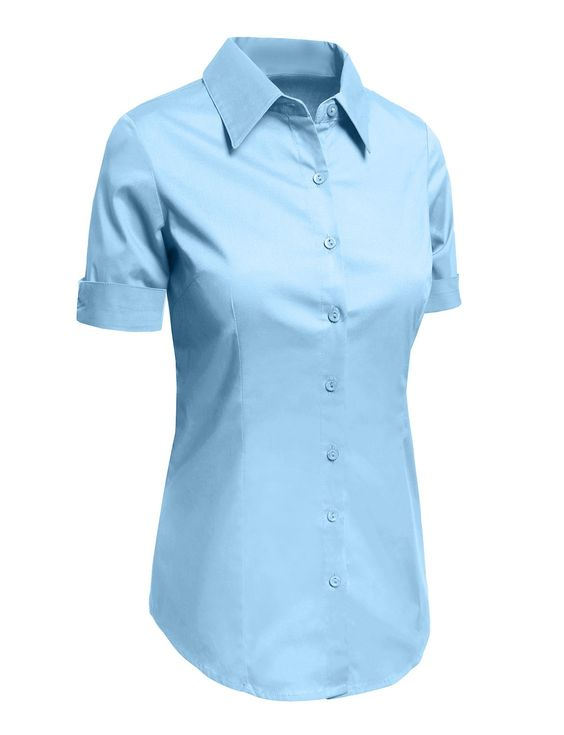 Le3no womens tailored short sleeve button down shirt with for Women s button down dress shirts