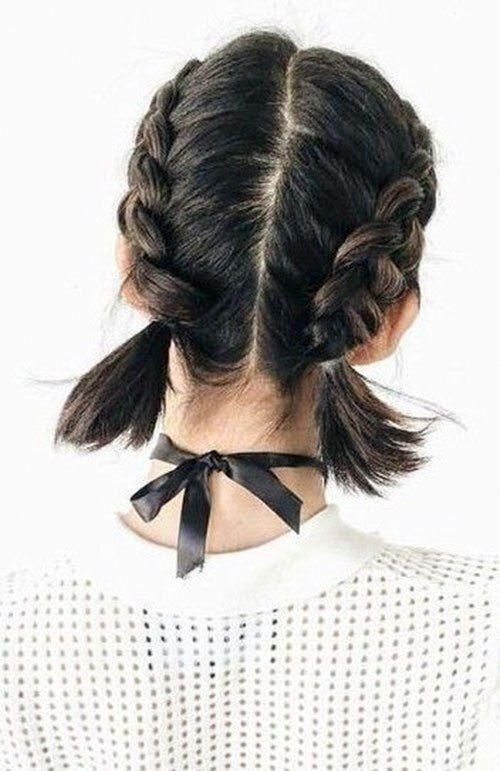 Braided Hairstyles On Short Natural Hair Braided Hairstyles Images Braided Ha Bra In 2020 French Braid Short Hair Braids For Short Hair Tail Hairstyle